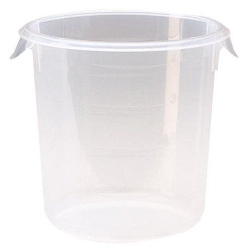 Rubbermaid Commercial Products Plastic Round Food Storage Container for Kitchen/Food Prep/Storing, 4 Quart, Clear, Container Only (FG572124CLR)