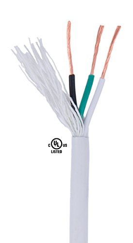 (B&P Lamp White Color, 18/3 SVT, PVC Lamp Cord, 3-Wire, 50 Ft. Length)