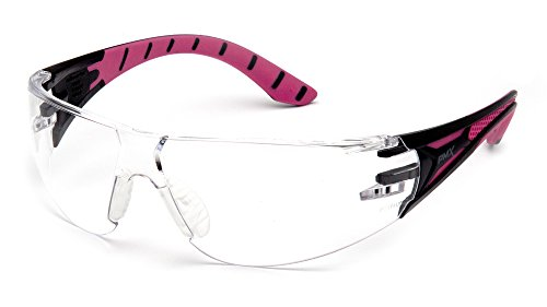 Pyramex Endeavor Plus Durable Safety Glasses, Black/Pink Frame, Clear -