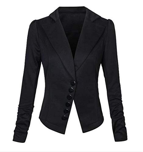 Moderne Uni Fit des Elgante Manches Office Revers Printemps Affaires Slim Long Outwear Manche D'Extrieur Vtements Style Mode Basic Automne Vetement Blazer Jacket Noir Femmes Femme Chic w6vqUaw