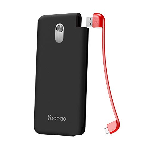 Yoobao Slim Portable Charger, 10000mAh Power Bank External Battery Pack Cell Phone Backup Charger with Built-in Micro Cable Compatible Android, Samsung Galaxy S7/S7 Edge, HTC, Nokia & More - Black