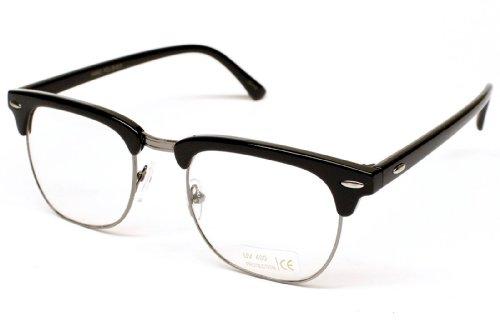 80s Retro Clear Lens Eyeglasses Sunglasses E21 (Zoe Cl Black / Nickel, - Sunglass Zoe