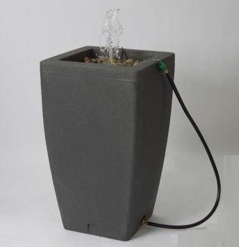 Algreen Products Madison Rain Barrel Fountain 49-Gallon, Charcoalstone by Algreen