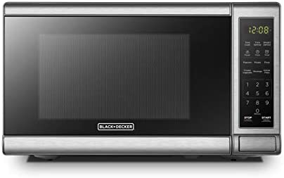 BLACK+DECKER EM720CB7 Digital Microwave Oven with Turntable Push-Button Door,Child Safety Lock,700W, Stainless Steel, 0.7 Cu.feet