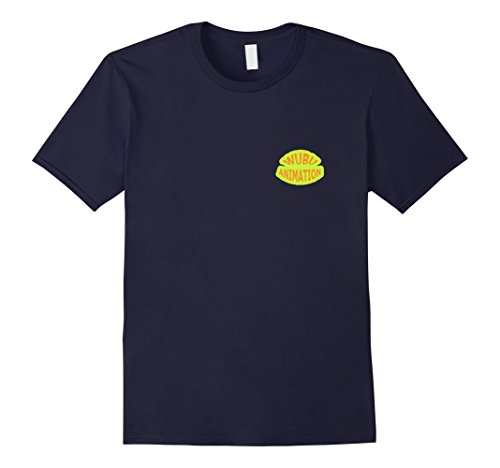 Mens Wubu Animation T-Shirt with pocket logo XL Navy