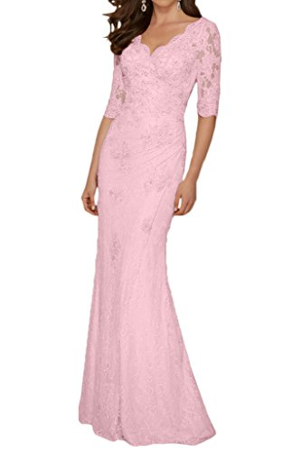 Mother Of Bride Dress V-Neck 1/2 Sleeves Sheath Applique-12-Pink (Lace Charmeuse Gown)