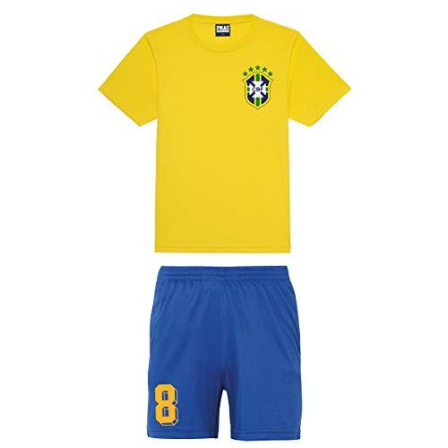 Print Me A Shirt Camiseta de Futbol Kit Equipo de Brazil Brasil Personalizable para Ninos.