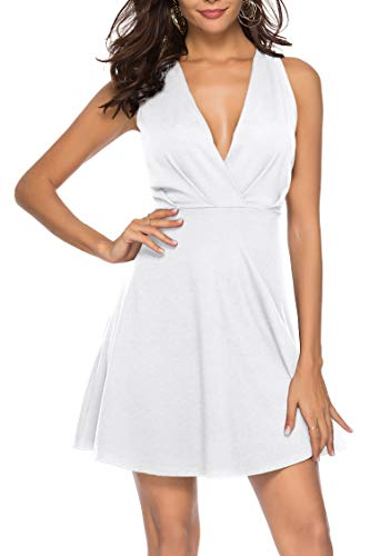 Sarin Mathews Womens Cocktail Party Skater Dresses V Neck A-line Homecoming Sexy Summer Short Club Dress Above Knee Length Sleeveless White L