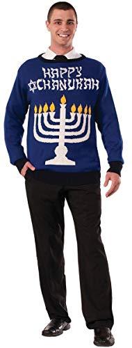 Forum Novelties Men's Menorah Chanukah Sweater, Multi, Medium -