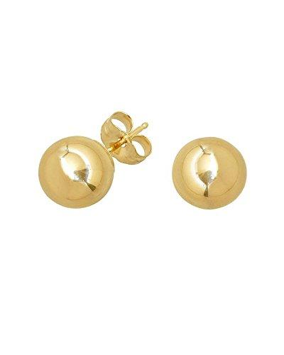 14k Yellow Gold Ball Bead Unisex Earrings 2mm 3mm 4mm 5mm 6mm 7mm 8mm 10mm (3 Millimeters) - 14k Gold Pierced Earrings