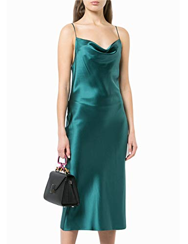 Summer Women Satin Spaghetti Strap Cami Dress Sexy Solid Color Low-Breasted Silk Dress Banquet Sling Dress Teal