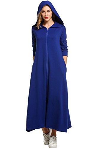 SE MIU Women's Plus Size Long Zipper Ultra-Soft Fleece Hoodie Robe With (Long Zipper)