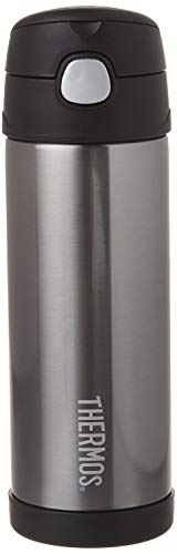 Thermos Funtainer 16 Ounce Bottle, Charcoal (Thermos Straw Water Bottle)