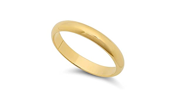 14k Yellow Gold Heavy Plated 3mm Smooth Domed Wedding Band Ring ...