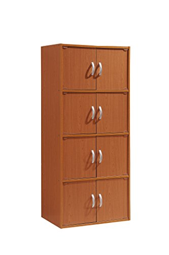 HODEDAH IMPORT Hodedah 8 Door, Four Shelves, Enclosed Storage Cabinet, Cherry by HODEDAH IMPORT