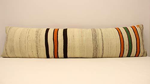 (Bedding Pillow Extralong Handmade Lumbar kilim pillow 12x47 inch Oriental Boho pillow Turkish Kilim pillow cover bedding pillow Small Oblong Kilim Cushion Cover Tribal Pillow Home&Kitchen throw pillow)
