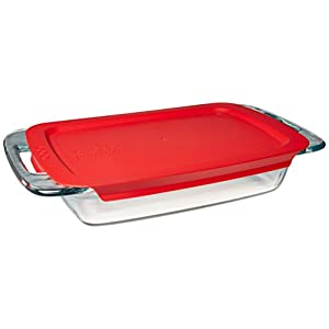 Pyrex Portable Set, includes 1-ea 3-qt Easy Grab Oblong, RedCover, Large Unipack 31of6YsWcJL