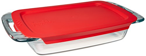 Pyrex Easy Grab Glass Oblong Baking Dish with Red Plastic Lid (2-quart) 11 Inch Covered Square Casserole