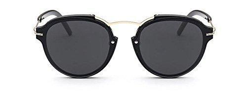 Style Pour Soleil de du et Rond Inspirées en Hommes Polarisées Steampunk Métallique Femmes Lunettes Frêne Cercle Noir Retro WRXn7wxq7H