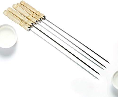 002fr Aiguille plate pour barbecue avec manche en bois Argenté 35 cm