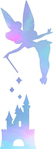 (ANGDEST Cartoon Peter PAN Tinkerbell Castle (Hologram) (Set of 2) Premium Waterproof Vinyl Decal Stickers for Laptop Phone Accessory Helmet Car Window Bumper Mug Tuber Cup Door Wall Decoration)