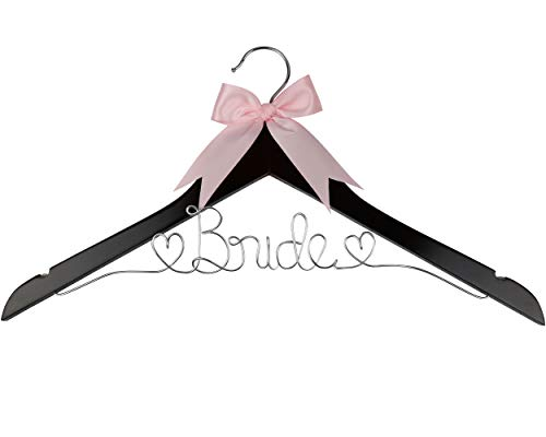 Your Dream Party Shop Bride Wedding Dress Hanger, Bridal Dress Hanger with Bride Wire for Wedding Gown in Anatto Wood Color for The Bride on her Wedding or Bridal Shower! ()