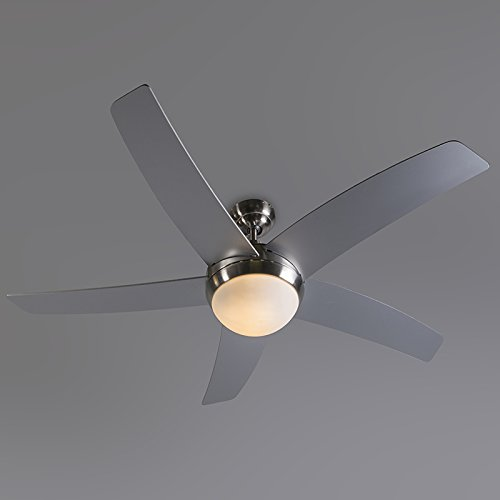 Qazqa design modern ceiling fan with light and remote control qazqa design modern ceiling fan with light and remote control cool 52 steel nickel matt satin glass wood round suitable for led e14 max aloadofball Images