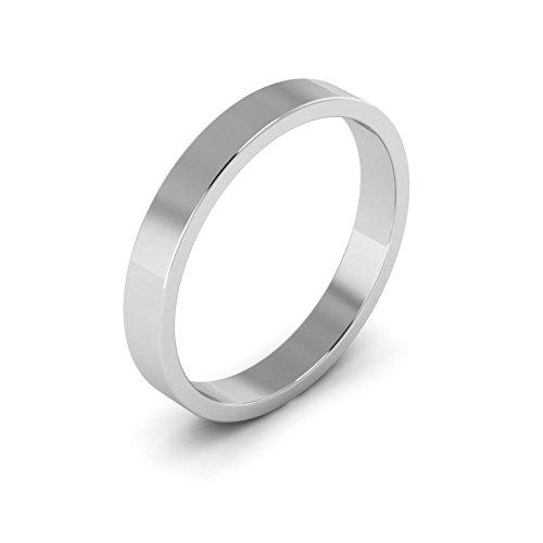 14K White Gold men's and women's plain wedding bands 3mm flat, (14k Gold Flat Wedding Band)