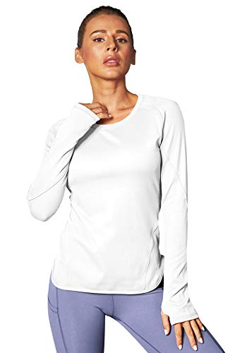 BATHRINS Long Sleeve Workout Shirts for Women Yoga Exercsie Tops Thumb Hole Shirt Casual Crewneck T-Shirt White