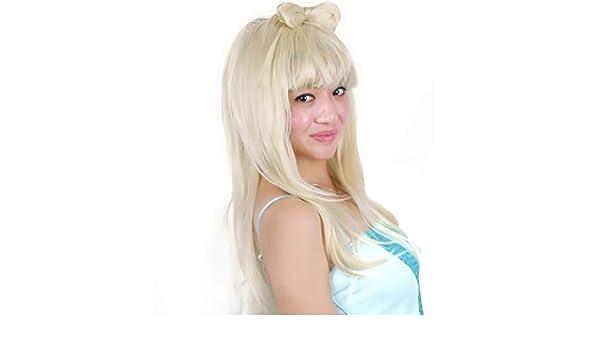 Peluca larga y recta, Danza de la mujer Arco para el cabello Diva Sexy Lady Gaga Disfraz de adulto Sin encaje Rocker Pop Star Silver White Cabello sintético Cosplay Fiesta de Halloween