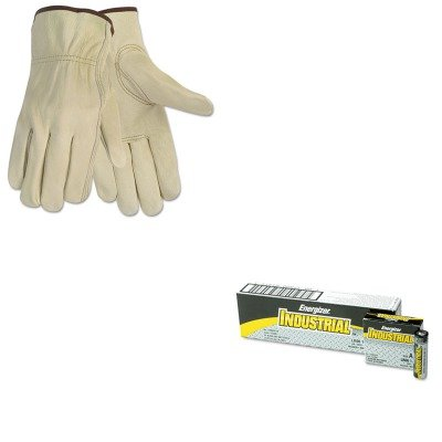 KITCRW3215MEVEEN91 - Value Kit - Memphis Economy Leather Driver Gloves (CRW3215M) and Energizer Industrial Alkaline Batteries (EVEEN91) Economy Drivers Glove