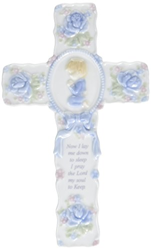 Cosmos R8015A Fine Porcelain Inspirational Cross with Praying Boy Figurine, 8-3/4-Inch ()