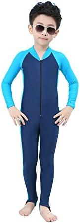 E Support® Kinder Junge Mädchen One Piece Long Sleeve UV Schutz Swetsuit Schwimmanzug Badeanzug Schwimm-Lern-Anzug Overall Watersport