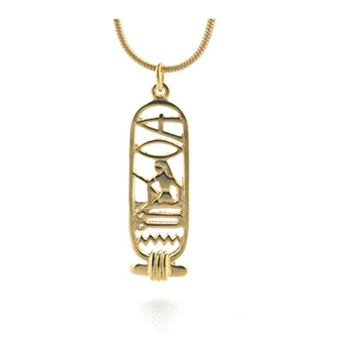 pricegems Gold Finish Egyptian Cartouche Hieroglyphics 'I Love You' Pendant Necklace With Snake Chain 18