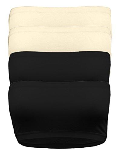 Ollie Arnes Women's One Size Strapless Seamless Stretch Bandeau Tube Bra Top (Stretch Tube Bra)