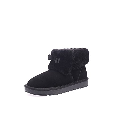 Botas mujeres lana cuero para de NSXZ 120W cálida de BLACK de antideslizantes nieve moda de botas invierno de d0XZwq