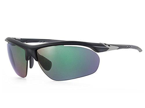 Sundog TrueBlue Bolt Sunglasses, Matte Black/Smoke/Light Green - Amo Sunglasses