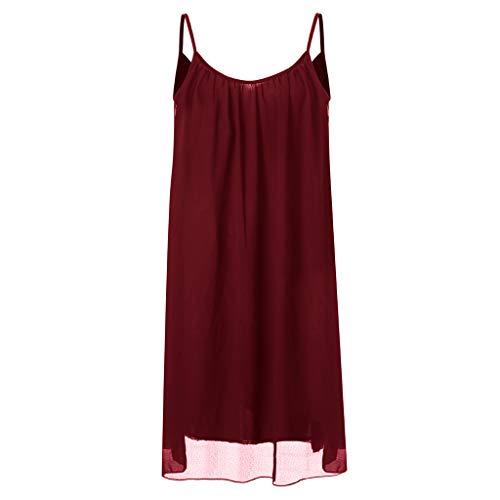Plisada De Chaleco Vestido Casual Sin Yesmile Gasa Red Fresco Sexy Honda Suelto Mangas Espagueti Mujer Verano ❤️ Mini Correa PFxFICOw