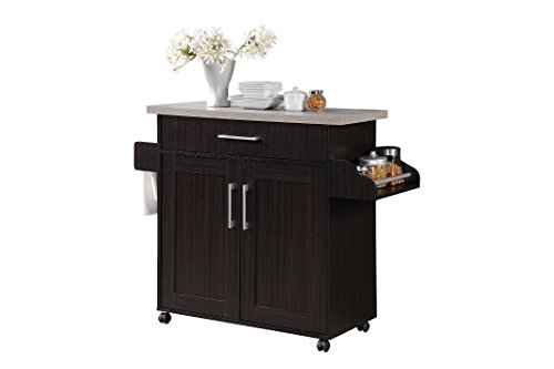 (Hodedah Kitchen Island with Spice Rack, Towel Rack & Drawer, Chocolate with Grey Top)