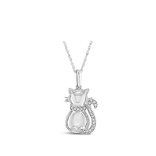 Brilliant Expressions .925 Sterling Silver 1/10 Cttw Kitty-Cat Tail Conflict Free Diamond Accented Adjustable Pendant Necklace (I-J Color, I2-I3 Clarity),16-18 inch (Diamond Kitty Cat)