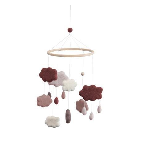 Sebra feutre de bébé Mobile, nuages, vieux rose, rose, blanc pour fille mobile Lit Bébé 100% laine fabriqué à la main 57cm x 22cm avec anneau en bois 0mois Neuf sebra0402 Sebra Interior for Kids