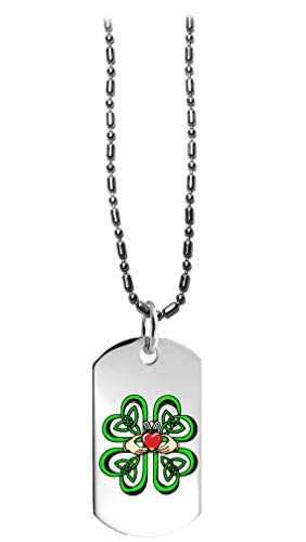 Hat Shark Irish Claddagh Ring w/Celtic Weave & Lucky Four Leaf Clover - 3D Color Printed Military Dog Tag, Luggage Tag Pendant Metal Chain Necklace