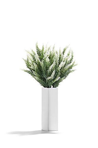 Artificial Plants Stems Decoration Realistic Blooming Flowers Faux Heather Bunch (White, green)