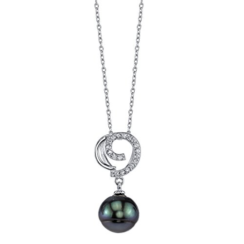 THE PEARL SOURCE 10-11mm Baroque Green Tahitian Cultured Pearl & Cubic Zirconia Micky Pendant Necklace for Women