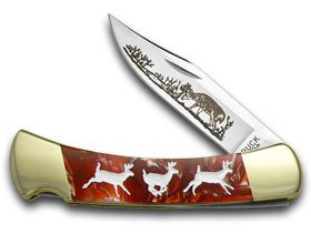 BUCK 110 Custom Fire Feathers Corelon Running Deer 1/400 Pocket Knife Knives by Buck