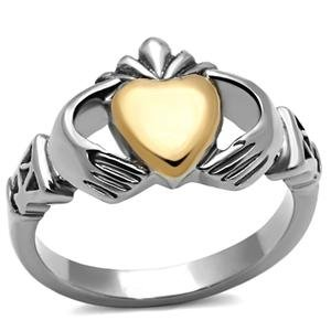 Stainless Steel Silver and Ip Rose Gold Claddagh Ring