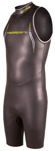 NeoSport Men's John Triathlon Short Sleeve Wetsuit, Black/Yellow, X-Small - Triathalon, Swimming & Racing ()