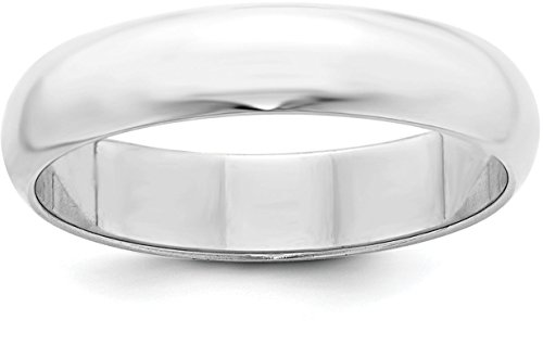 Sterling Silver 5mm Plain Half-Round Classic Wedding Band - Size 12.5
