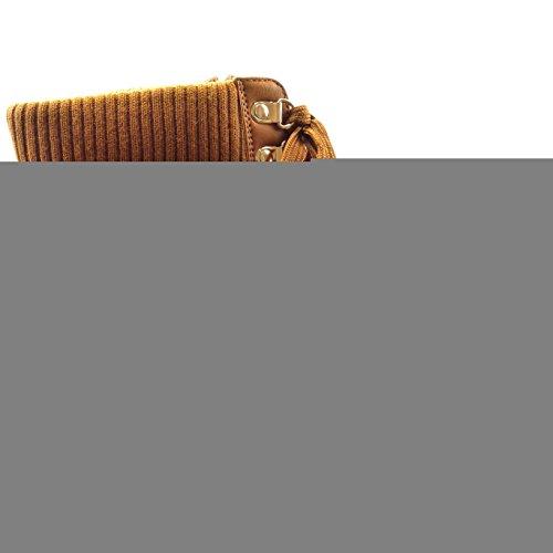 Sopily - Scarpe da Moda Stivaletti - Scarponcini rangers donna zip trapuntata Tacco a blocco 3 CM - soletta Foderato di Pelliccia - Cammello