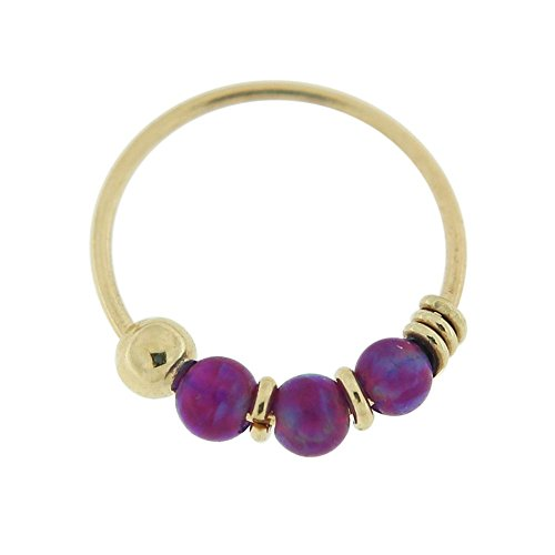 9k Solid Ring - PiercingPoint 9KT Solid Yellow Gold Triple Purple Opal Stone 22 Gauge (0.6MM) - 5/16 Inch (8MM) Length Hoop Nose Ring
